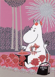 Moomin picking red flowers