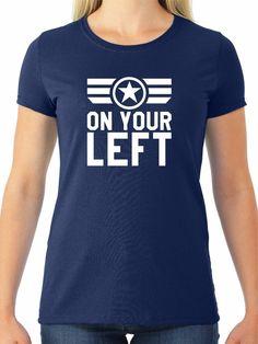 """Captain America """"On Your Left"""" Women's Tee #JERZEES #GraphicTee"""