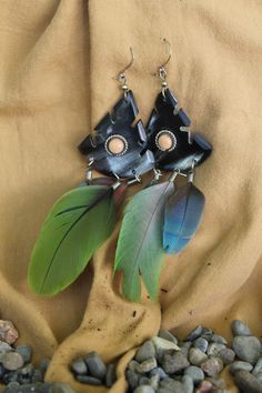 Parrot Feather Earrings, Hand made in Ecuador.