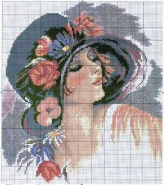 0 point de croix fille romantique au chapeau noir et rouge - cross stitch romantic girl with red and black hat