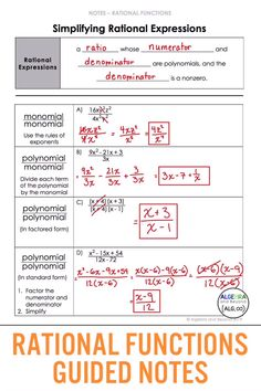 Help your students understand rational functions: operations, solving, transformations, and graphing. This unit includes warm-ups, Simplifying Rational Expressions, Algebraic Expressions, Gcse Math, Math Math, Math Teacher, Math Games, Teacher Stuff, Algebra Help, Math Help