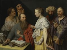 WILLEM WILLEMSZ. VAN DER VLIET: A SCHOLAR IN HIS STUDY WITH FIGURES WITH MASKS, POSSIBLY AN ALLEGORY