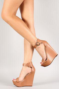 Breckelle Ankle Buckle Open Toe Platform Wedge