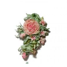 Pink Roses Ribbon work Flower Pin Applique Hair Clip by lambsandivydesigns for $35.95