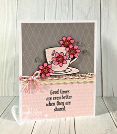 What a pretty little Stamp of the Month! It's called Tea-rrific , and it's got the prettiest little flowers and teacups.         I stamped...