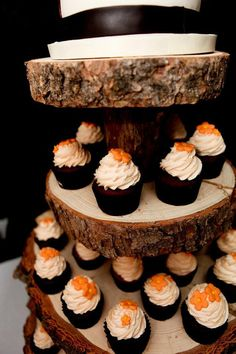 Rustic Wood Tree Slice 4-tier Cupcake Stand for by postscripts