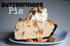 """Frozen Butterfinger Pie - I made this yesterday. HUGE hit and SO delicious! I made my own chocolate graham crust, though, and put it in a regular 9"""" pie dish. I baked the crust for 10 minutes @ 350 degrees, then let it cool completely before adding the filling. SO good!"""