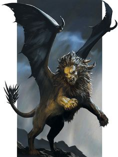 A manticore is a large, magical beast with the body of a lion, dragon-like wings, and a somewhat humanoid head. Its long tail has a cluster of deadly spikes, which the creature can launch at its foes as weapons. It has dagger-like claws and fangs. High Fantasy, Fantasy World, Fantasy Art, Creature Feature, Creature Design, Magical Creatures, Fantasy Creatures, Dragons, Manticore