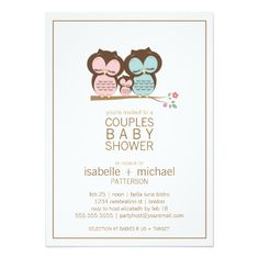 Cute Owl Family Couples Baby Shower Invitation