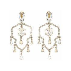 Oscar de la Renta Swarovski Crystal Shield Chandelier Earrings (£230) ❤ liked on Polyvore featuring jewelry, earrings, crystal, oscar de la renta jewelry, chandelier earrings, swarovski crystal chandelier earrings, nickel free jewelry and earring jewelry