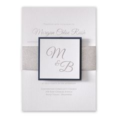 Dressed to impress! Luxurious layers come together to form one of the most beautiful wedding invitations we offer! A silver glitter belly band wraps around the white textured invitation and is finished with a coordinating white textured tag featuring your choice of backer color.