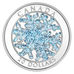 1 oz. Pure Silver Coloured Coin - Snowflake - Mintage: 6,000 (2017)