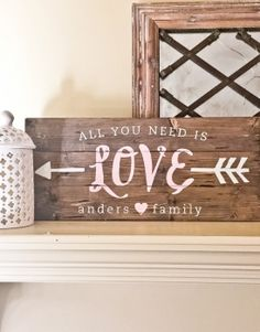 All You Need Is Love Wood Sign – 10.5×24