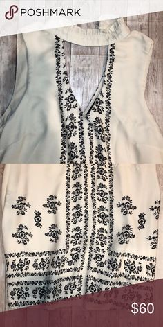 7ed26bfdcbc5 Summer dress Light off white color with black embroidered design Dresses  Midi