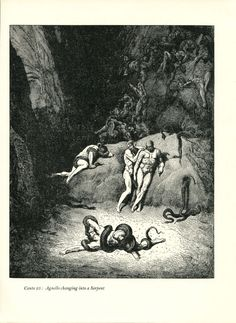Gustave Dore Print /Bookplate 1948 Agnello Serpent Snake Hell Divine Comedy #Realism