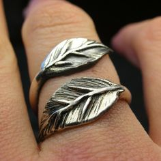 Leaf jewelry obsession - I love this wrap around ring in silver.