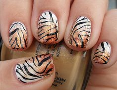 animal print nails ~ TIGER!!!