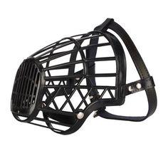 Leather Basket Cage Adjustable Pet Dog Muzzle Black Size-6 « dogsiteworld.com