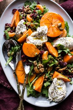 Harvest Cranberry, Persimmon and Burrata Salad | Half Baked Harvest