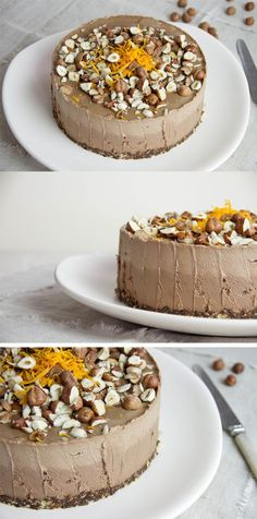 Chocolate Hazelnut Orange Cake from Ascension Kitchen Creamy chocolatey delicious and good for you this flavorful raw dessert is rich in essential nutrients including hea. Raw Vegan Cake, Raw Vegan Desserts, Raw Cake, Raw Vegan Recipes, Vegan Treats, Vegan Foods, Delicious Desserts, Vegan Raw, Vegan Cupcakes