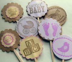 vintage cupcake toppers, baby shower, girl, brown and lavender, purple,  rustic, set of 16