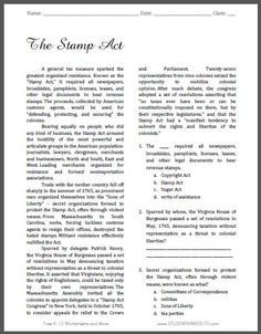 The Stamp Act - Free Printable American History Reading with Questions for Grades 9-12