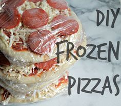 Stop buying frozen pizzas at the store and make your own at home for pennies! DIY Frozen Pizzas