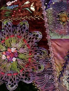 Dyed doilies and crazy quilting technique.  wow...somebody make me one please!!