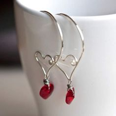 Mayahelena Jewelry - Sterling Wire Sculpted Hoops w Swarovski Crystal Hearts