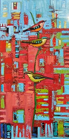 Three Friends in Red-Rene' Wiley-24x12 i nches-Oil on canvas by Rene' Wiley Gallery Oil ~ 24 x 12