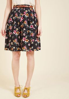 Bookstore's Best A-Line Skirt in Noir Blossom in 1X, #ModCloth