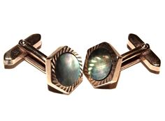 Vintage Mother of Pearl/ Abalone Cufflinks With Gold-Toned Pattern Setting
