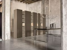 Sectional lacquered storage wall CODE by EmmeBi design Duccio Grassi Grey Oak, White Space, Wall Design, Living Area, Bookcase, Drawers, Coding, Shelves, Storage