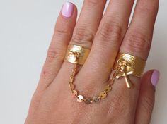 Gold adjustable brass thick band rings with by PanachebyAmanda, $30.20