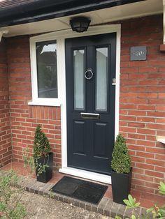 Solidor Anthracite Grey, looks stunning on our house! Victorian Front Doors, Grey Front Doors, Solidor Door, Front Porches, House Front, Door Ideas, Looking Stunning, Home Improvement, Garage Doors