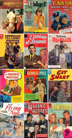 Classic 1960s Sitcoms — vintage comic books...watch all of those shows still! im an old soul. what can i say?