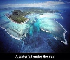 Waterfall under the sea in Madagascar? It's an optical illusion, created by sand flowing in the current.