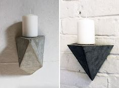diy geometric concrete shelves, vases, and hooks Cement Design, Cement Art, Concrete Cement, Concrete Crafts, Concrete Projects, Diy Projects, Cement Planters, Concrete Furniture, Diy Furniture