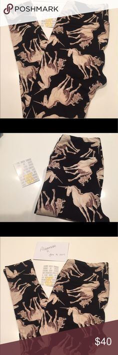 Lularoe OS BNWT Unicorn Leggings Black! BNWT OS LLR leggings. Off white unicorns on Black background! LuLaRoe Pants Leggings