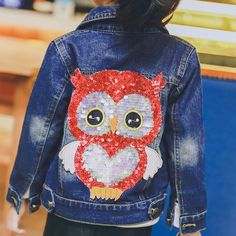 29.49$  Watch now - http://aliy7n.shopchina.info/go.php?t=32794263240 - spring jacket girls 2017 new fashion children's jackets sequined owl printed kids denim jackets for girls children jackets 2-7T  #magazineonline