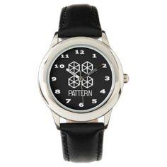 Pattern Kid's Stainless Steel Black Wrist Watch - pattern sample design template diy cyo customize