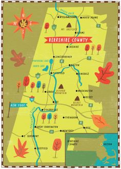 Leaf-peeping map of the Berkshires, Massachusetts illustrated map by Nate Padavick (www.idrawmaps.com)