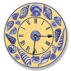 Stupell Home Dcor Yellow With Blue Shells Decorative Vanity Wall Clock 12 x 04 x 12 Proudly Made in USA * Check this awesome product by going to the link at the image. (This is an affiliate link) #Clocks