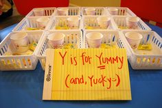Letter Y - yummy or yucky taste test!