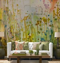 Textured, fancy walls are so in right now—and watercolor walls are just continuing that trend. Check out these pretty rooms that style the watercolor wall mural really well, for inspiration on how to do it in your home. Inspiration Wall, Interior Inspiration, Custom Wall Murals, Mural Wall, Wall Art, Watercolor Walls, Watercolor Wallpaper, Watercolor Design, Abstract Watercolor