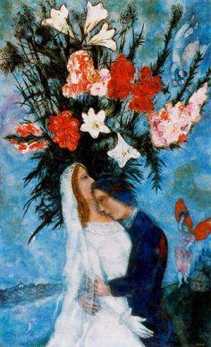 Chagall, Marc - The Bridal Couple - Ecole de Paris - Genre - Oil on canvas