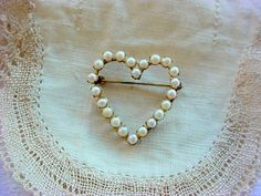 Cultured Pearl Heart Gold Brooch Perfect Pin for BRIDE by Zeppola, $55.00