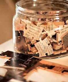 puzzle guest 'book' sign in notes wedding event party, picture of recipient on other side. Love this idea