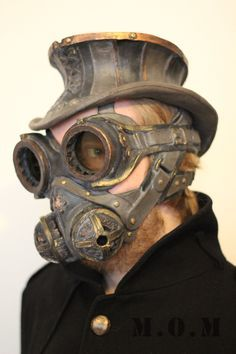 Steampunk Hat, Goggles and respirator.