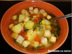 Supa de vara cu dovlecei - Bucataria cu noroc European Dishes, Romania, Fruit Salad, Chicken, Food, Diet, Fruit Salads, Essen, Meals